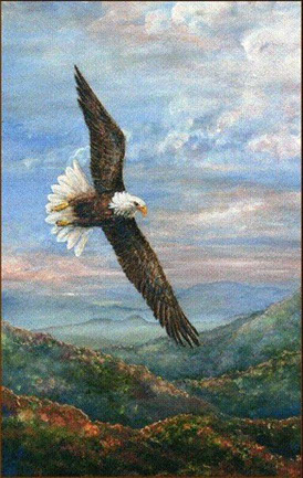 "Original Painting, ""Spirit of the Mountains"" by Sarah Hasty Williams.  The Eagle is a symbolic image for Sarah."